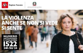Immagine della campagna di informazione del numero telefonico 1522 antiviolenza e antistalking